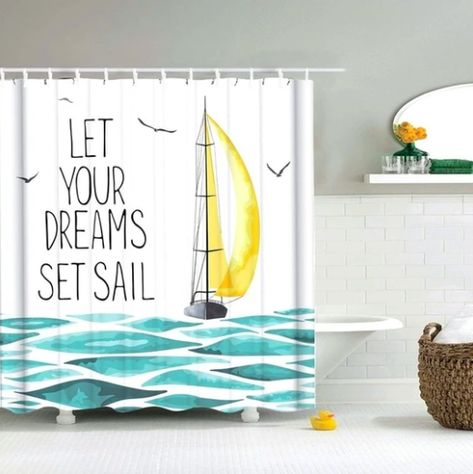 Dreams Set Sail Fabric Shower Curtain In 2020 Fabric Shower