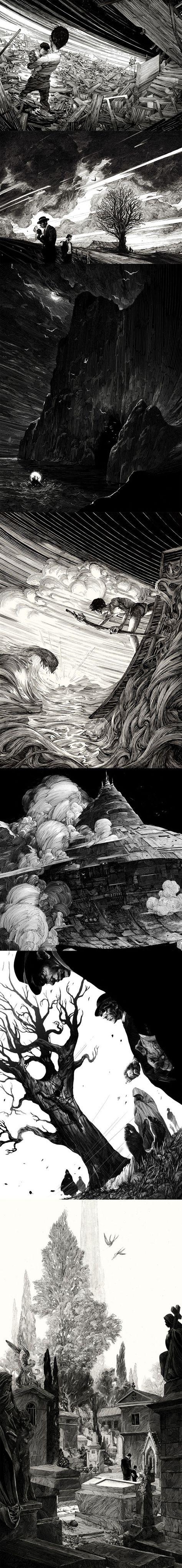 Les dessins à l'encre stupéfiants de Nicolas Delort (France). Une précision et un sens du trait impressionnant. Dommage que le contenant ne soit pas à la hauteur du contenu.