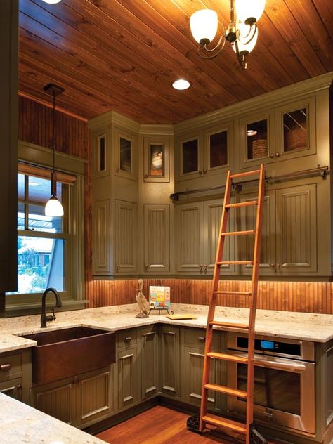 Farmhouse Country Kitchen | Painted Farm Style Kitchen with Library Ladder to reach those top ...