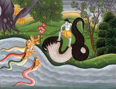 Nagas watch the Indian God Krishna from the river ( )