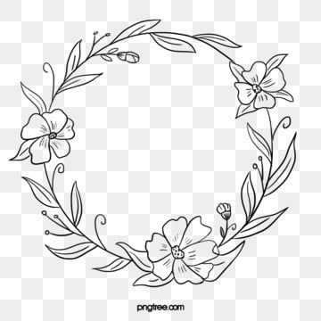 Black Hand Drawn Line Side Wedding Decoration With Encircled Round Flower Border Marry Wedding Decorations Wedding Ceremony Png Transparent Clipart Image And Flower Border How To Draw Hands Wreath Drawing