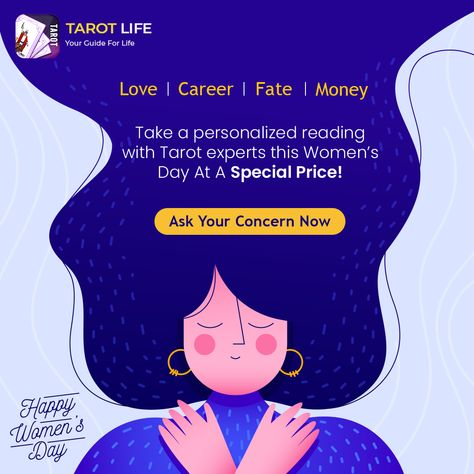 Ask about what's keeping you from being happy in life, and get the most insightful readings from our Tarot Experts at a special discount. #tarot #tarotreading #lovereading #womenempowerment #womensday #womensupportingwomen #womensday2021 #celebratingwomen #specialoffer #womensdayoffer