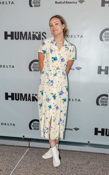 Olivia Wilde arrives to the opening night of 'The Humans' at the  Ahmanson Theatre.