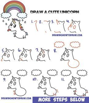How To Draw A Cute Kawaii Unicorn With Tongue Out Under Rainbow