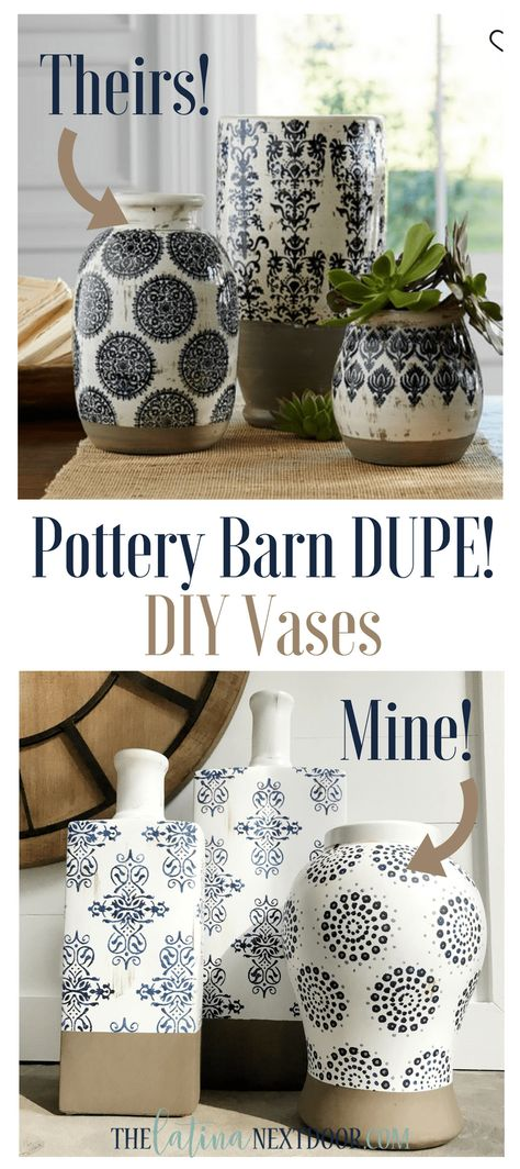 DIY Pottery Barn Vases - The Latina Next Door - - Forget paying too much and get the look for less with these DIY Pottery Barn Vases that look just as great as teh real ones but so much cheaper! Pottery Painting, Pottery Vase, Diy Painting, Diy Furniture To Sell, Furniture Ideas, Pottery Barn Hacks, Pottery Ideas, Porte Diy, Make Your Own Pottery