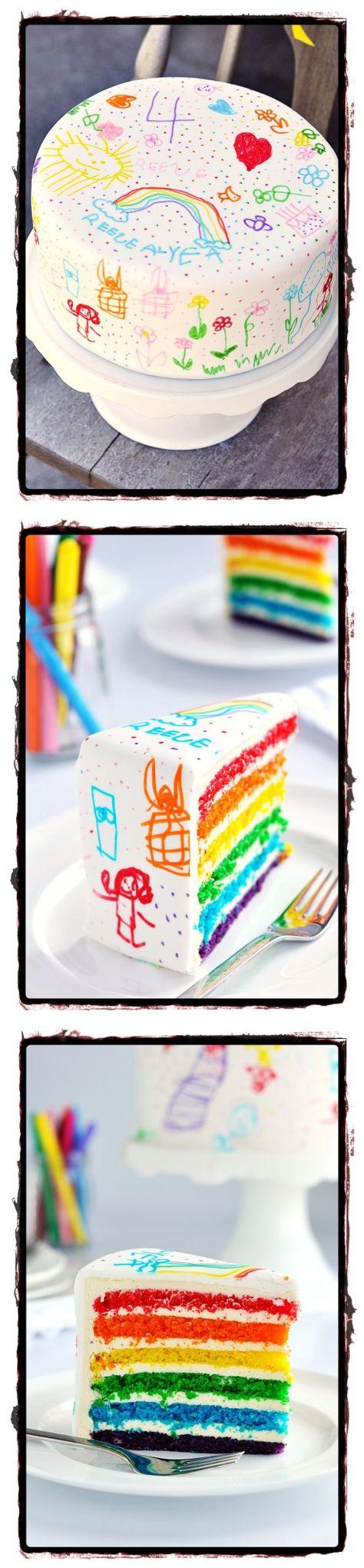 Rainbow Doodle Birthday Cake For Kids