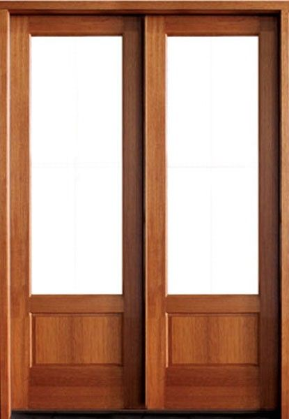 Mahogany Alexandria 1 Lite Impact Double Door 1 3 4 Thick Double Doors Wood Doors French Doors Patio