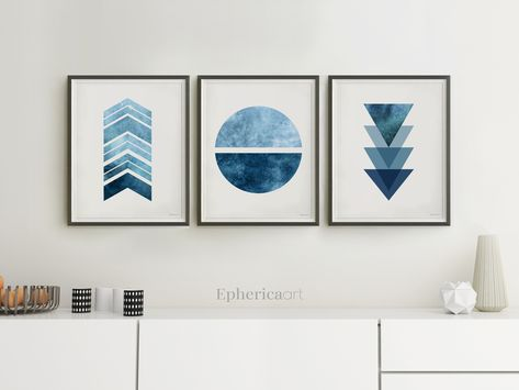 Blue Navy wall art trio, Blue abstract pictures, Set of 3 Geometric designs for walls, Blue home decor prints for DOWNLOAD, Modern artworks