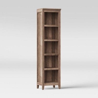 72 Carson Narrow Bookcase Light Brown Threshold In 2020 Bookcase Lighting Narrow Bookshelf Bookshelf Lighting