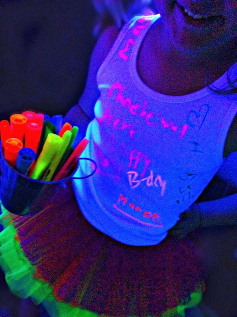 Bringing Up Burns: Molly's NINTH Neon Glow in the Dark Dance Birthday Party - Neon Accessories Bar, Neon Tutu, Highlighters, White Tank Top, Birthday Girl