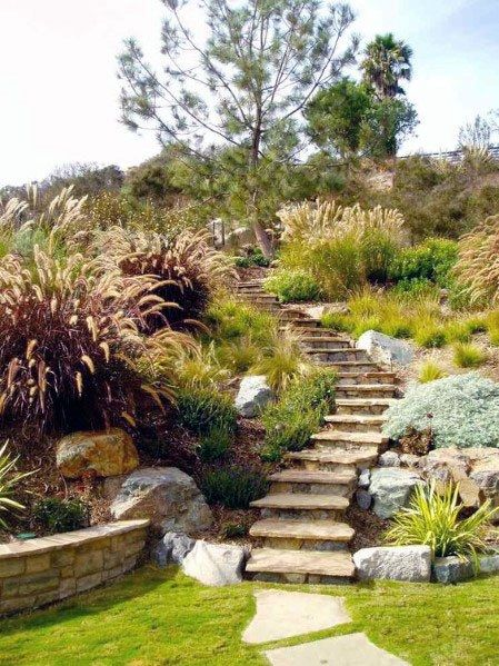 Top 50 Best Slope Landscaping Ideas Hill Softscape Designs Sloped Garden Garden Stairs Backyard Landscaping