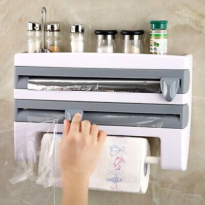 Plastic Wrap Foil Dispenser With Cutter Help To Free Up Drawer Cabinet Table Or Countertop Space Perfect Paper Towel Holder Kitchen Roll Kitchen Paper Towel