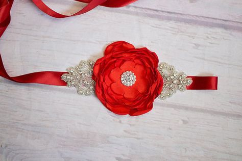 2pcs Wedding Bridal Bridesmaid Flower Girl Maternity Sash Belt Headband Set