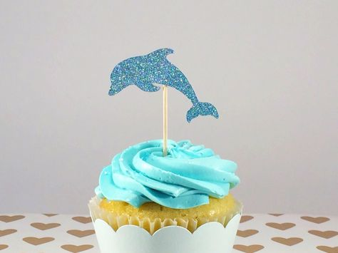 New to RingsAndRattles on Etsy: 12 Blue Glitter Dolphin Cupcake Toppers Ocean Theme Party Beach Theme Birthday Glitter Cupcake Toppers Birthday Party Decor (8.00 CAD)