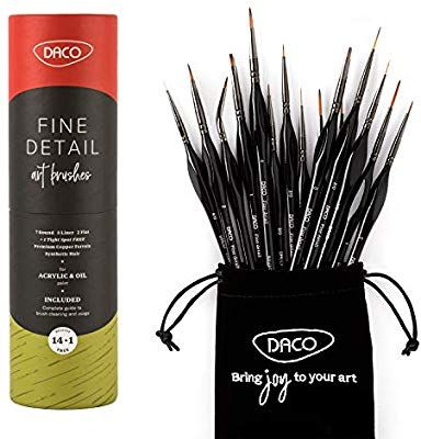 Amazon Com Daco Detail Paint Brush Set 14pcs 1 Bonus Fine