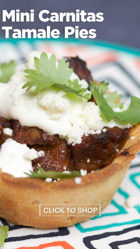 Need to feed the family? Whip up these mini carnitas tamale pies — and make sure you're serving premium 100% blue agave 1800 Tequila for the adults at the table. #ad