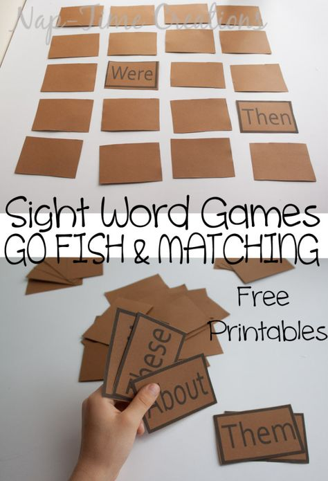 Students must match sight words. This can be a game in class or a game to take home to practice sight words at home. If the student flips over then and were, they are obviously not a match so they will need to retry. Teaching Sight Words, Sight Word Practice, Sight Word Activities, Sight Word Wall, Kindergarten Literacy, Literacy Activities, Reading Activities, Literacy Centers, Kindergarten Sight Word Games