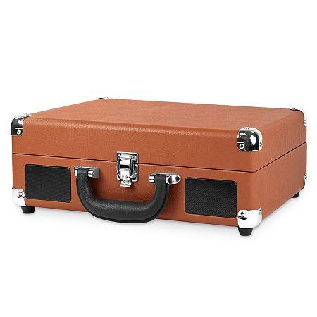 Brown Victrola Vintage 3-Speed Bluetooth Suitcase Turntable with Speakers