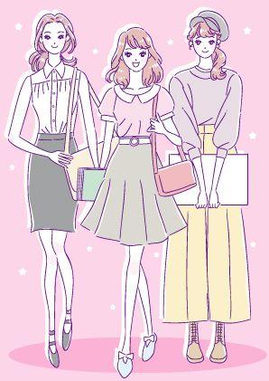 おしゃれな私服の女子大生や専門学生のかわいいイラスト 女の子イラスト イラスト 女性 イラスト