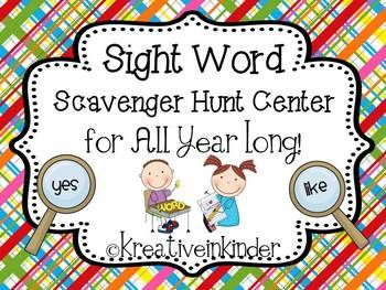 Sight Word Scavenger Hunt Center *Editable* for ALL YEAR!  This set is 162 pages with 53 different themes to use through the year.  $