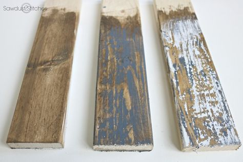 Do you love the vintage/rustic look of layered chippy paint, but don't want to pay for the sometimes pricey originals ? Paint Furniture, Rustic Furniture, Furniture Makeover, Furniture Design, Furniture Painting Techniques, Paint Techniques, Aging Wood, Distressed Painting, Weathered Wood