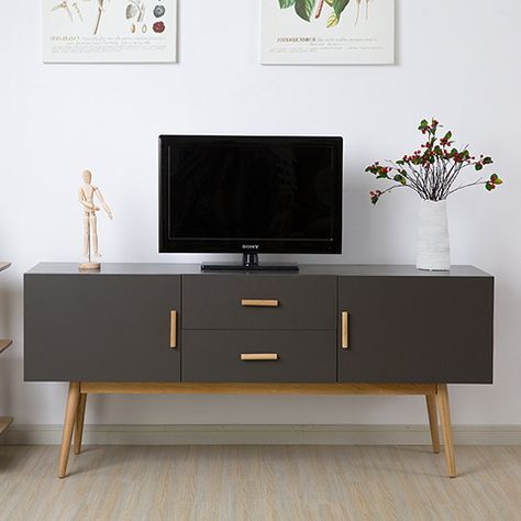 Modern Minimalist Dark Wood Coffee Table Tv Cabinet White Section