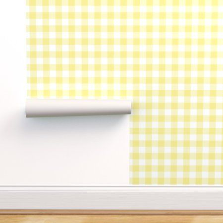Removable Water Activated Wallpaper Yellow Gingham Plaid Check Buffalo Walmart Com Peel And Stick Wallpaper Wallpaper Panels Removable Wallpaper