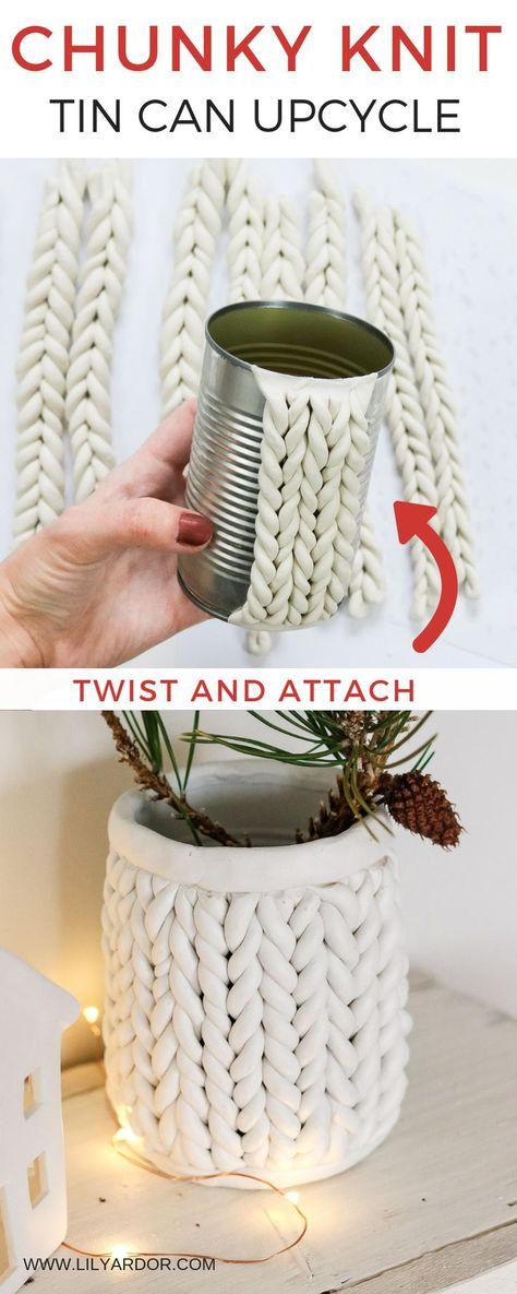 DIY Chunky knit using Clay - Chunky Knit Planter - Lily Ardor