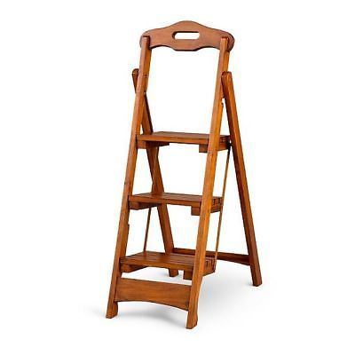Wooden Folding Step Ladder 1 Solid Wood Home Library Kitchen Portable Stool New Wood Step Stool Wood Steps Step Stool