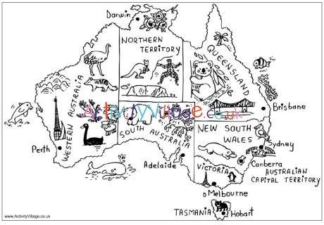 Australia Map Colouring Page Australia Map Australia For Kids Geography For Kids