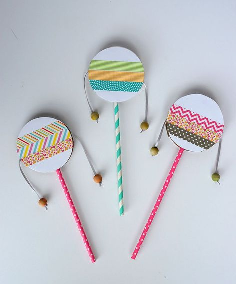 DIY Spin Drum for Kids Birthday Parties spin drum diy with washi tape DIY Spin Drum fo Drums For Kids, Instrument Craft, Percussion Instrument, Drum Craft, Washi Tape Diy, Camping Crafts, Diy Camping, Camping Ideas, Summer Crafts