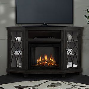 Lynette Corner Electric Fireplace Tv Stand In Grey 1750e Gry In