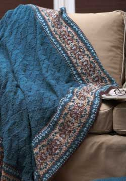 Textured afghan with a detailed fair isle border. Shown in Patons Decor.