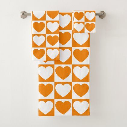 Orange And White Checkered Pattern With Hearts Bath Towel Set
