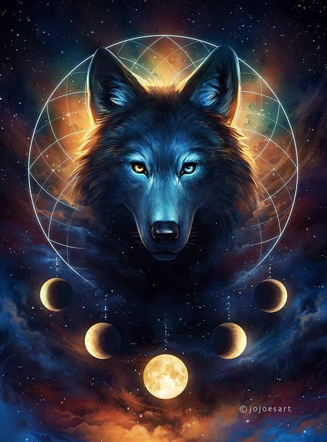Dream Catcher - Signed Art Print - Fantasy Wolf Moon Dreamcatcher Galaxy Painting - by Jonas Jödicke