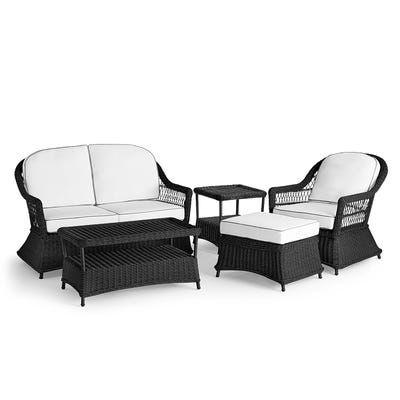 Sorrento Black Wicker Loveseat Patio Set With Cushions Wicker Loveseat Love Seat Outdoor Furniture Sale