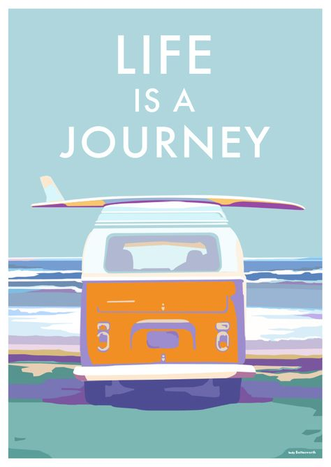 Camper van vintage style railway travel posters at beckybettesworth.myshopify.com