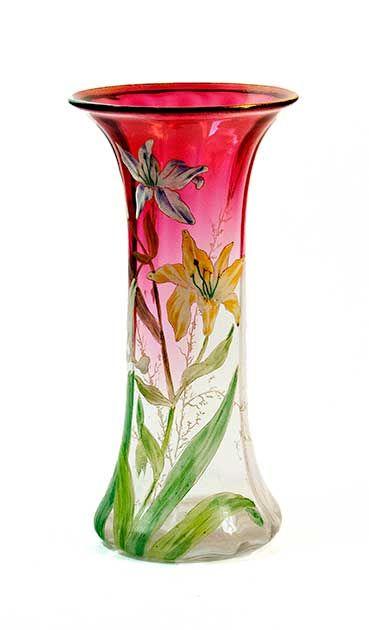 Mont Joye French Enameled Lily Vase Ca 1900 650 Www