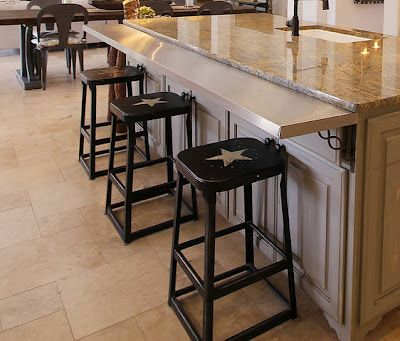 Great way to add a bar to an existing island. | western decor | Pinterest |  Bar, Kitchens and Stools