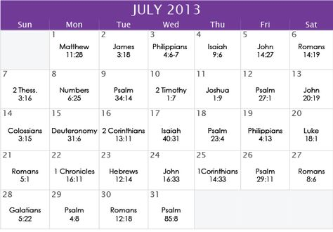 """July 2013 Prayer Calendar. Our focus for the month is """"Peace""""   To join our mailing list email us at calendar@iprayallday.com"""