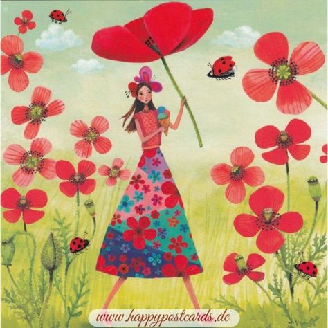 POSTCARDS | Mila Marquis | Woman with Poppy - Mila Marquis Postcard | Edition Gollong | Feature: Partieller UV-Lack | Artist: Mila... Buy postcards | online shop