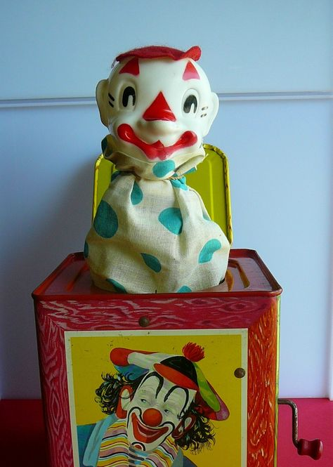 Jack in the box. I had one similar to this, but thankfully I don't remember Jack looking so creepy and scary.