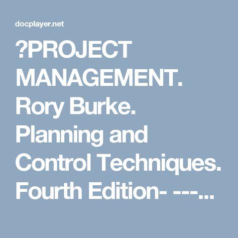 Techniques project rory pdf management burke