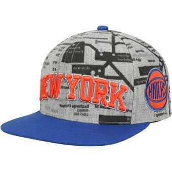 Men S New York Knicks Mitchell Ness Gray Metro Snapback Adjustable Hat New York Knicks Mitchell Ness New Era Hats