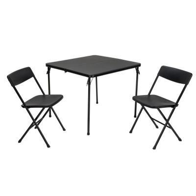 Cosco 3 Piece Black Fold In Half Folding Table Set Outdoor
