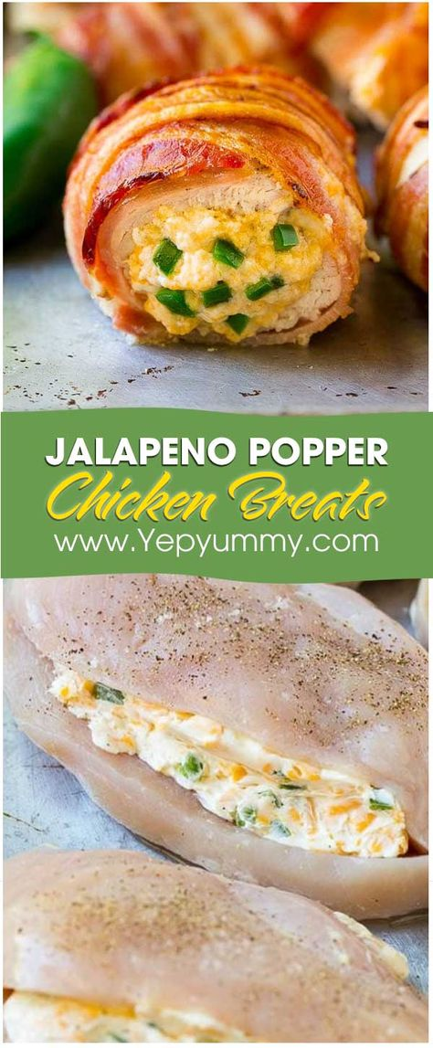 This is myfavorite dish, Jalapeno Popper Chicken Breast. That is perfect combination of chicken breastswith a jalapeno cheese mixture, then wrapped them in bacon. Jalapeno Chicken Breast Recipe, Chicken Breats Recipes, Baked Chicken Breast, Chicken Breasts, Jalepeno Popper Chicken, Jalapeno Popper Recipes, Chicken Poppers, Jalapeno Poppers Oven, Jalapeno Stuffed Chicken