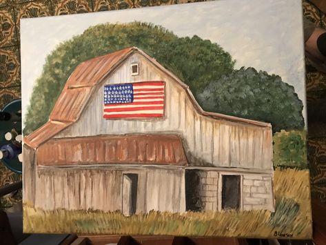 American Barn Lighted Canvas Wall Decor Sign Star Flag Farm Lights Up New Rustic