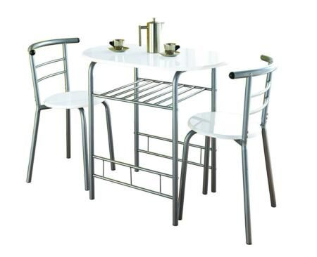 New New Modern 2 Seater Dining Table And Chairs High Gloss Kitchen Patio Set W Dining Table Small Space Tall