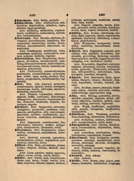 A complete dictionary of synonyms and antonyms     with an appendix