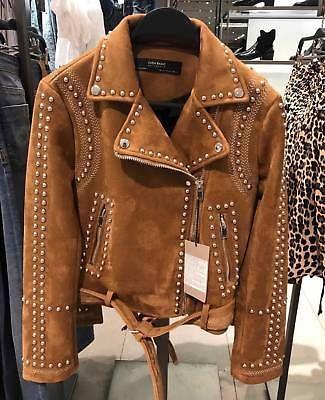 dd84673e Zara camel studded faux suede jacket sizes xs / s / m / l / xl new ...
